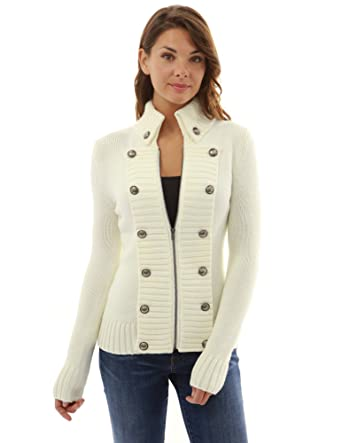 ca6a35ca4f7 PattyBoutik Women s Military Mock Neck Zip Up Cardigan at Amazon Women s  Clothing store