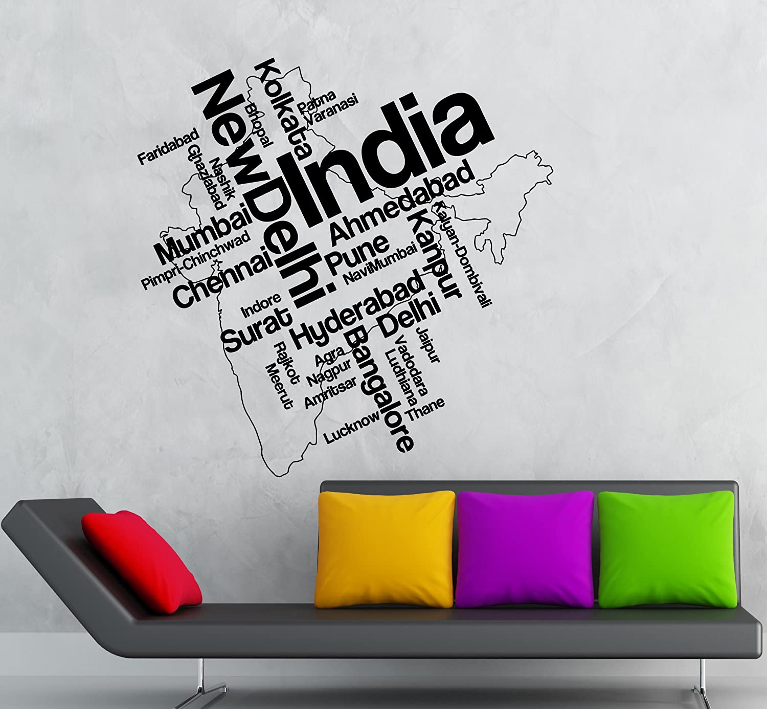 Amazoncom Wall Stickers Vinyl Decal India New Delhi Indian Map