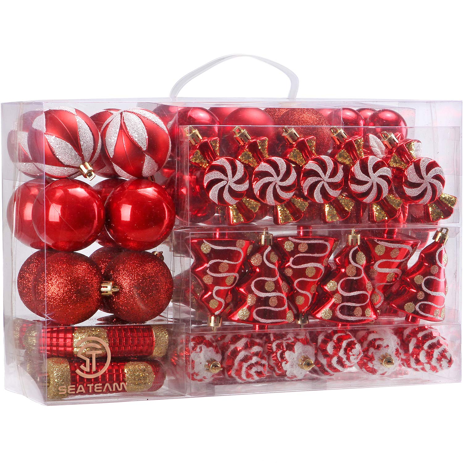 Sea Team 77-Pack Assorted Shatterproof Christmas Balls Christmas Ornaments Set Decorative Baubles Pendants with Reusable Hand-held Gift Package for Xmas Tree (Red)