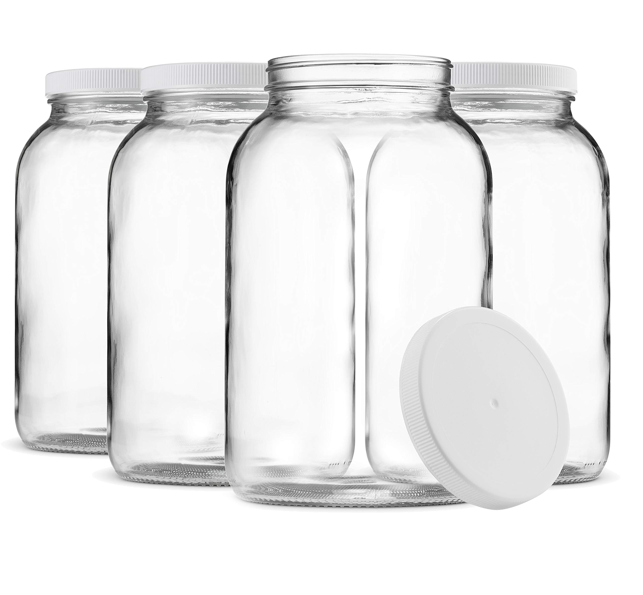 Paksh Novelty 1-Gallon Glass Jar Wide Mouth with Airtight Plastic Lid - USDA Approved BPA-Free Dishwasher Safe Mason Jar for Fermenting, Kombucha, Kefir, Storing and Canning Uses, Clear (4 Pack) by Paksh Novelty