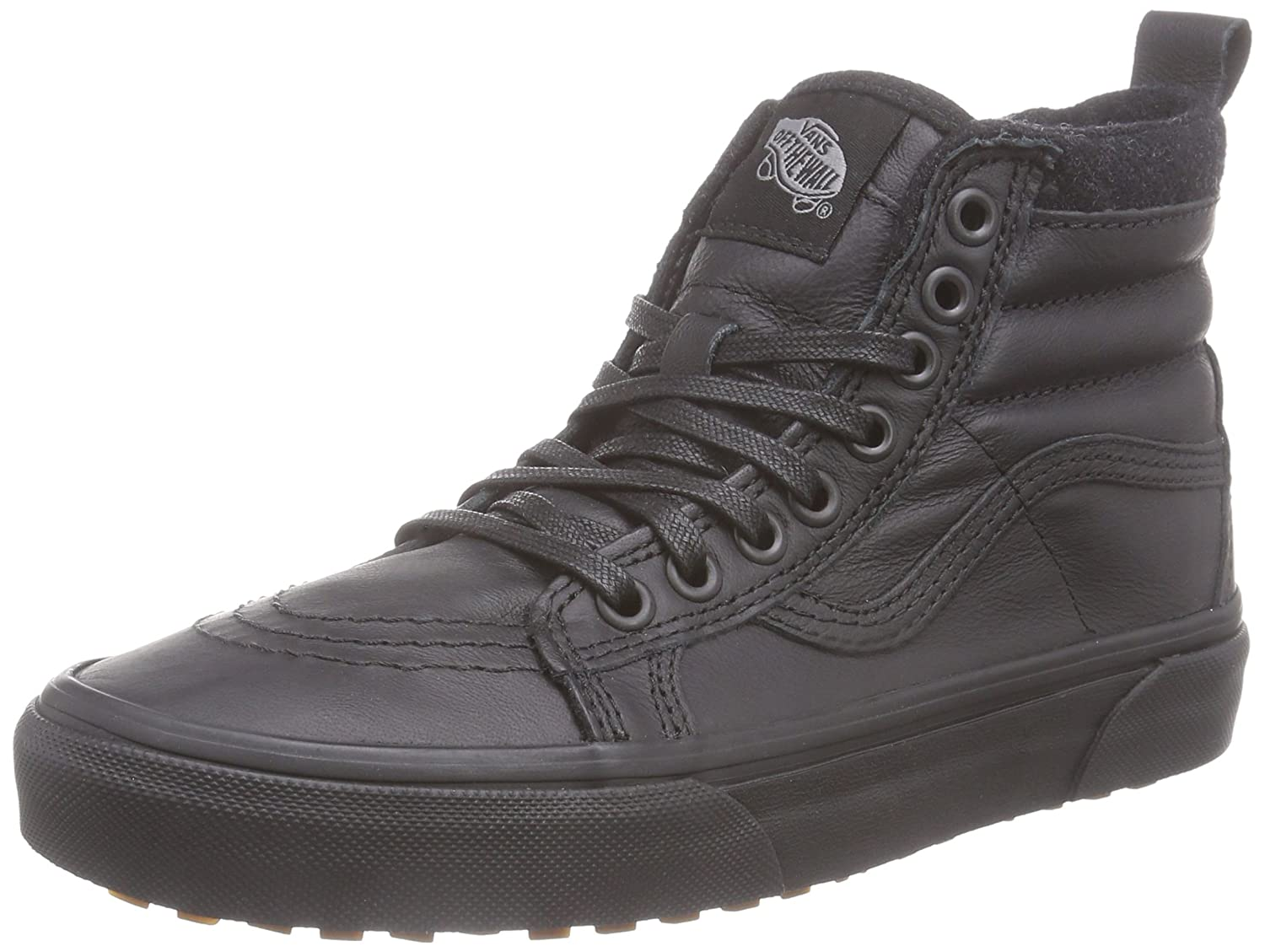 Vans Sk8-Hi Unisex Casual High-Top Skate Shoes, Comfortable and Durable in Signature Waffle Rubber Sole B00RQNCC82 8 Women / 6.5 Men M US|(Mte) Black/Leather