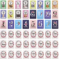 48pcs Baby Milestone Cards Monthly Moment Cards Set with Gift Paper Box First Year Progress Unisex Baby Shower Including Smile Rolled Over Stand Walk