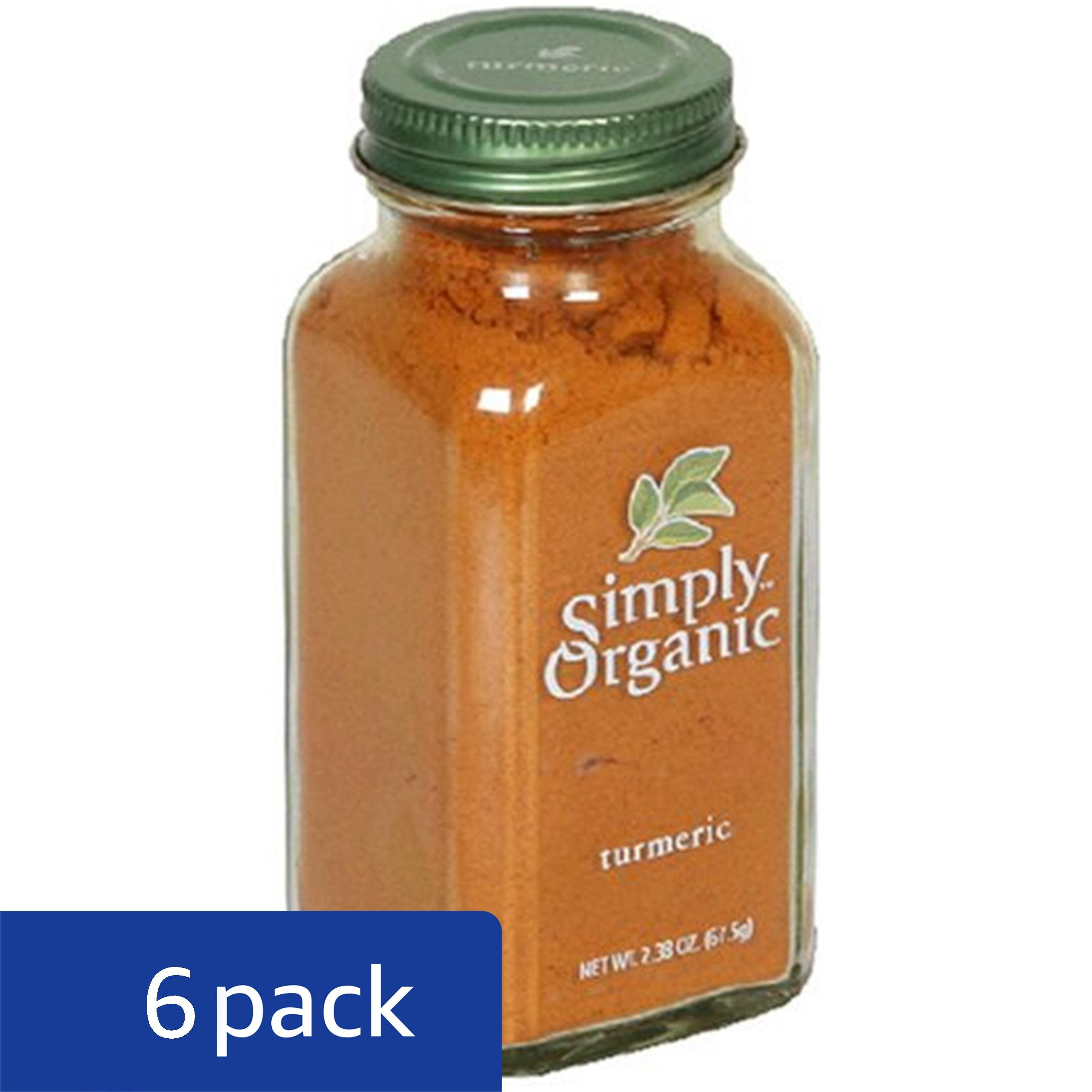 Simply Organic Turmeric Root Ground Certified Organic, 2.38-Ounce Containers (Pack of 6)