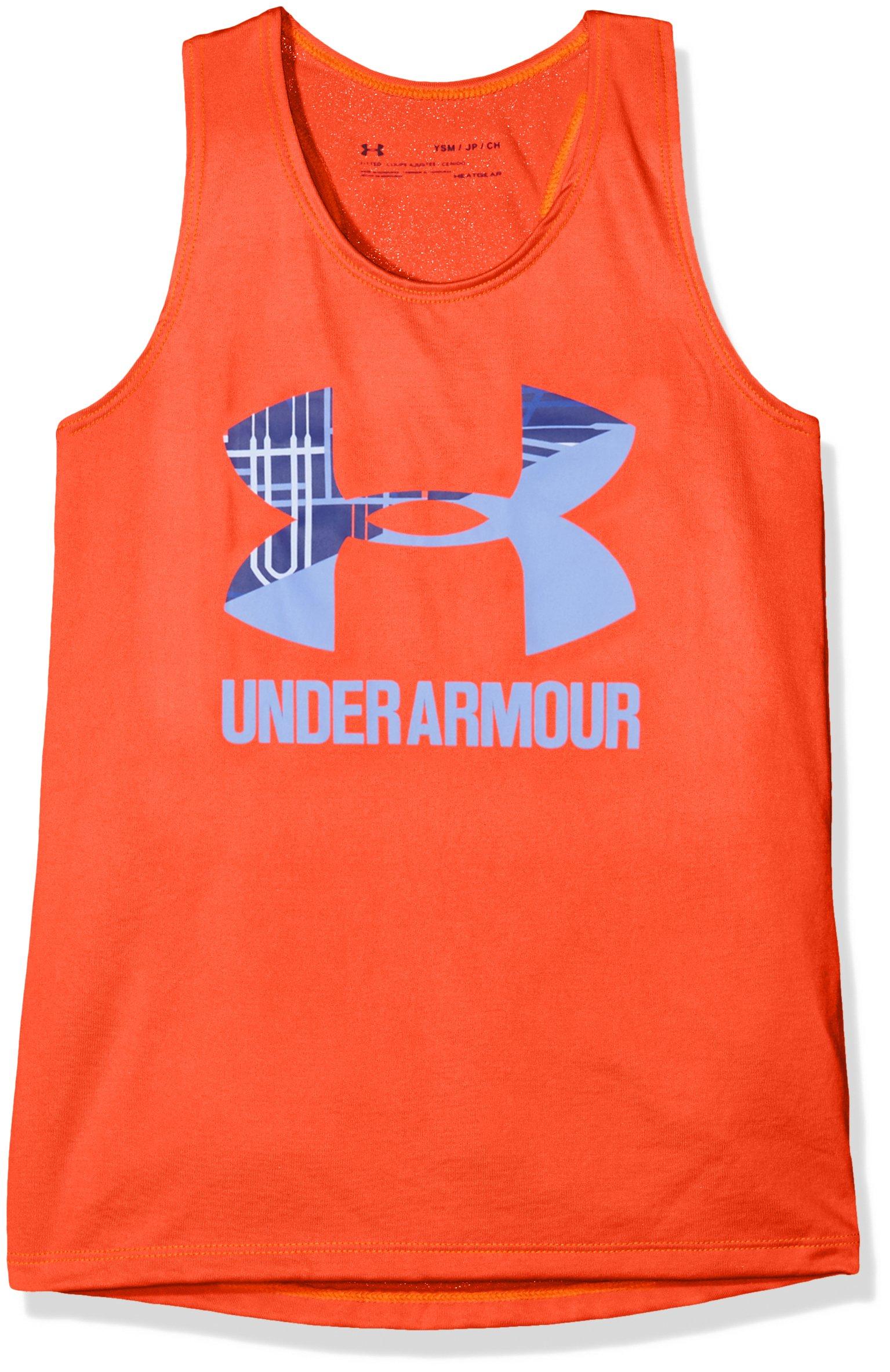 Under Armour Girls Big Logo Slash Tank, Neon Coral /Talc Blue, Youth Large