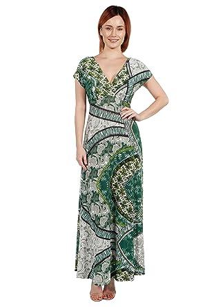 7efd68a33204 24seven Comfort Apparel Women's Clothes Scarf Print Cap Sleeve V Neck Empire  Waist Maxi Dress -