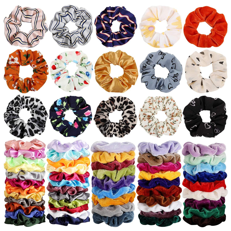 68pcs Bulk Colorful Scrunchies Girl Hair Band Bobble Hair Ties Ropes Jewelry