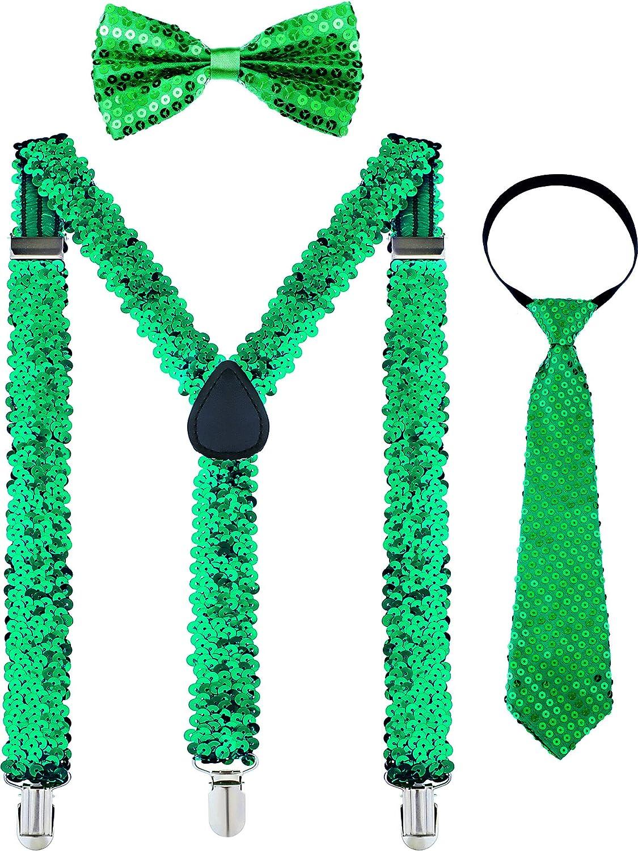 Patrick/'s Day Accessories 3 Pieces Patricks Day Costume Accessory Adjustable Pre-tied Bowtie Green Shamrock Necktie for Men Women St Blackish Green Chuangdi Y Back Suspender Pre-tied Bowtie Green Clover Necktie for St