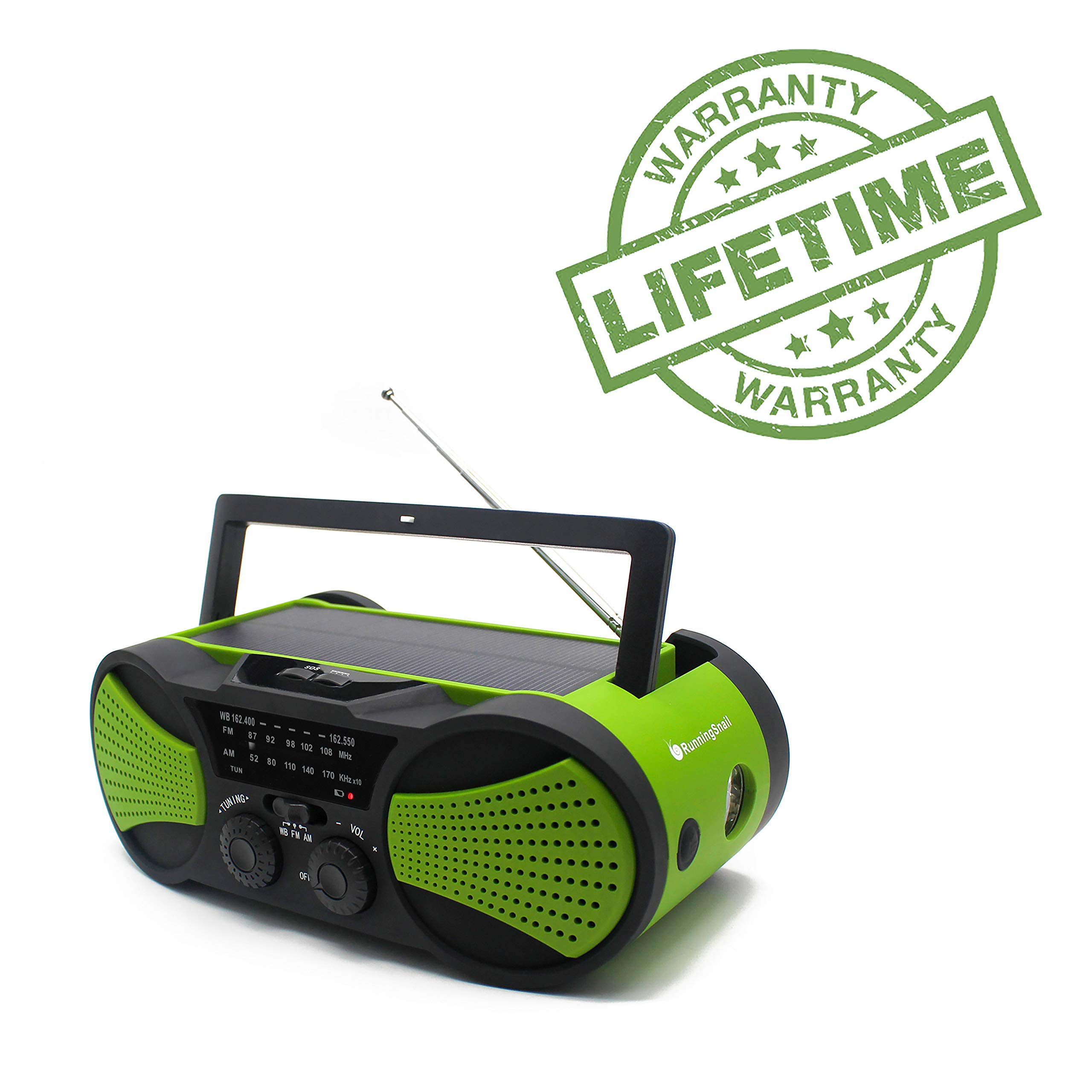 Emergency Crank NOAA Weather Radio, Audio Speaker, RunningSnail AM/FM 4-Way Powered Radio with 4000mAh Battery, LED Flashlight, Reading Lamp, SOS Alarm and Cellphone Charger (Green) by RunningSnail