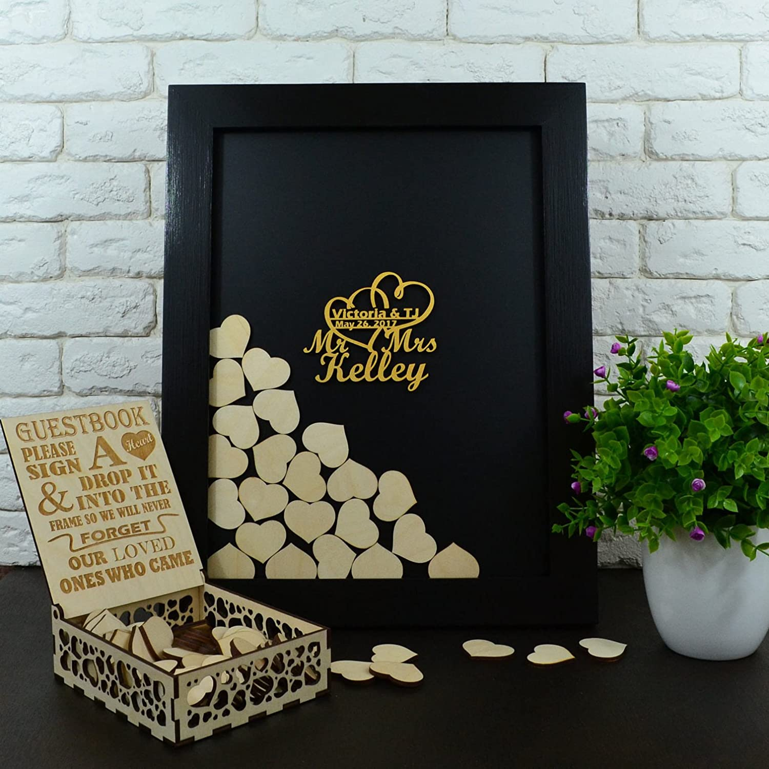 Wedding Guest Drop Top Wooden Frame with 120 Hearts and Sign Please Sign A Heart