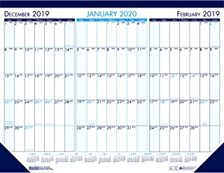 product image for House of Doolittle 2020 Three-Month Desk Pad Calendar, 22 x 17 Inches, Blue, December - January (HOD136-20)
