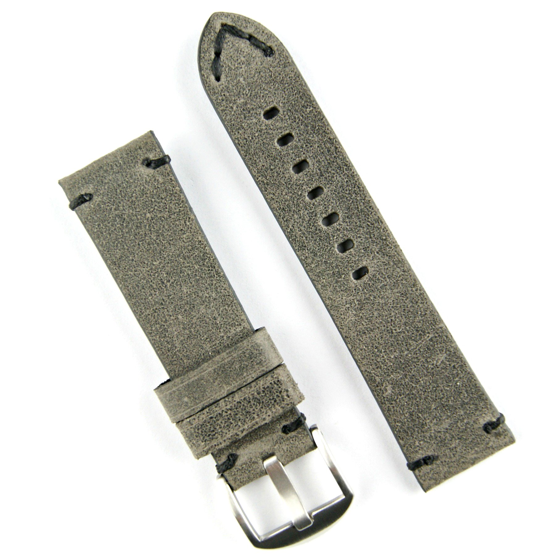 B & R Bands 24mm Charcoal Gray Classic Vintage Leather Watch Band Strap Black Stitch - Large Length