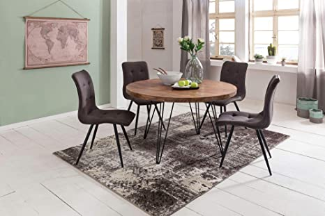 Bali Design Dining Room Table Round Diameter 120 X 78 Cm Sheesham Solid Wood Country House Dining Table Brown For 4 People Height 78 X Width 120 X 120 Cm Sheesham Amazon De Kuche Haushalt