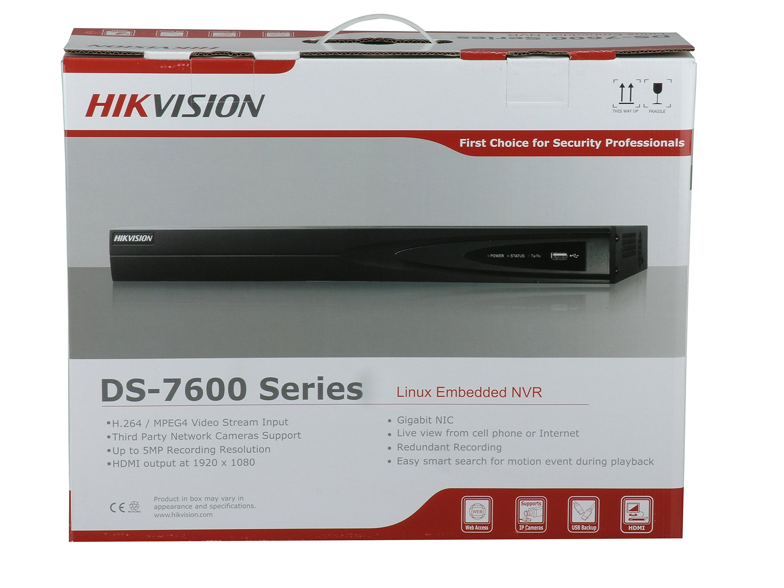 HIKVISION 16CH 16 Ports PoE DS-7616NI-E2/16P NVR Network Video Recorder by Hikvision