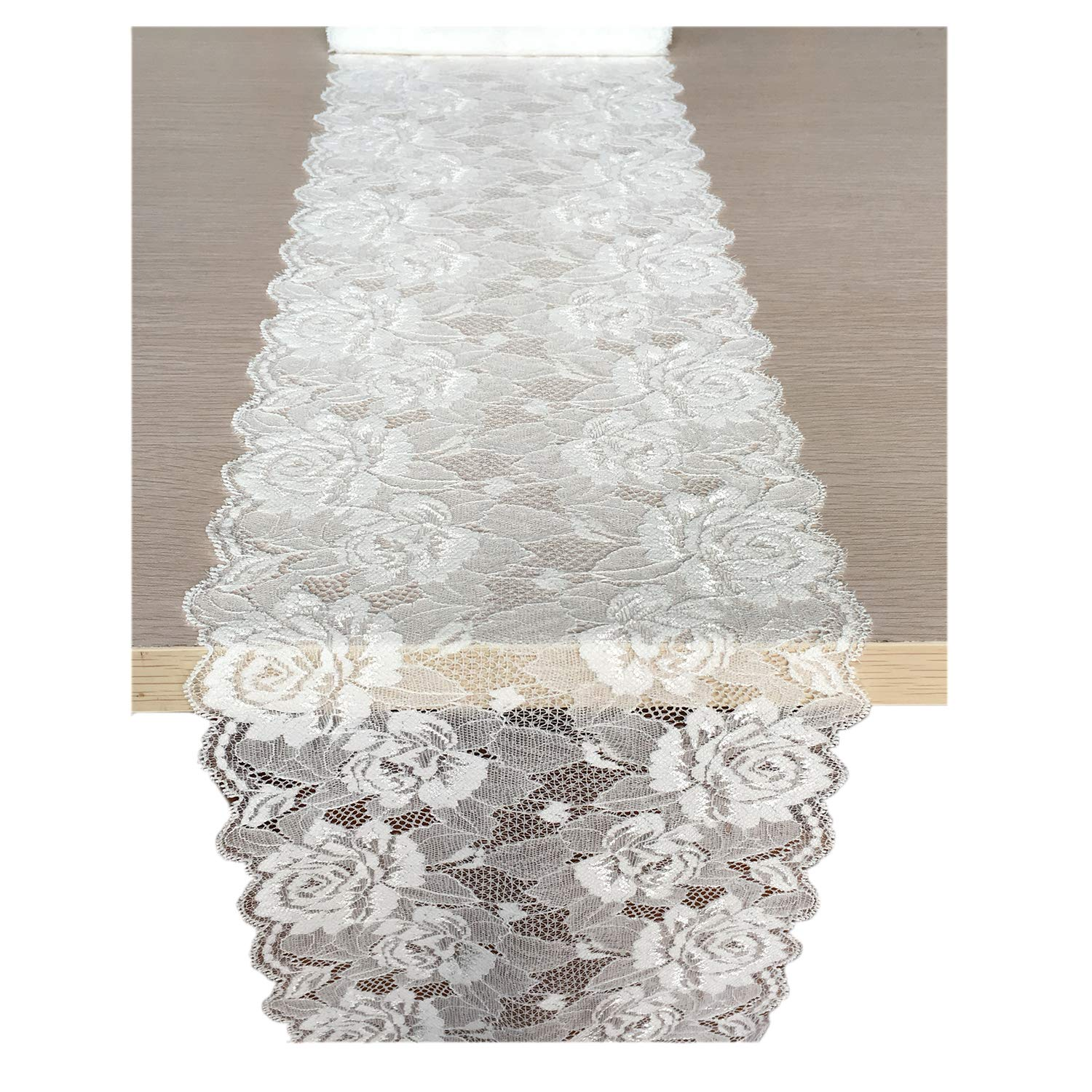 Lacer EALM 7.5 X 180 inches White Lace Table Runner/Overlay Lace Tablecloth Gorgeous Spring Summer Decoration Wedding Party Decoration Baby & Bridal Shower Decor (White 5927)