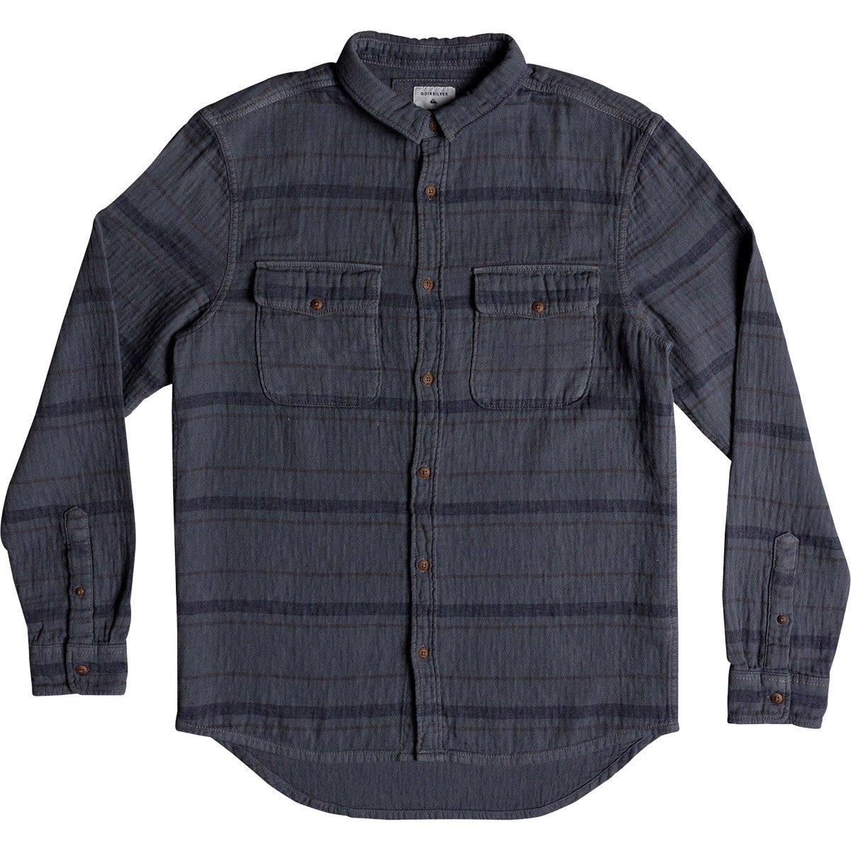 Quiksilver Men's Hamada Life Button Down Flannel Shirt, Iron Gate Striped Flannel, M