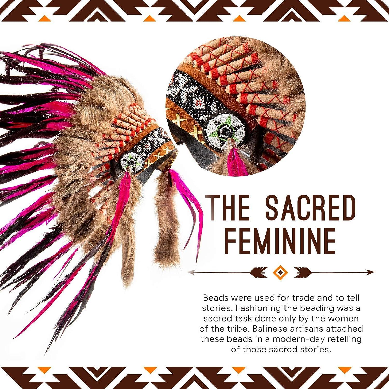 Fuschia und Schwarz Pink Pineapple Traditioneller Indianer-Kopfschmuck handgefertigt im traditionellen Stil Nordamerikanischer Indianer Kost/üm