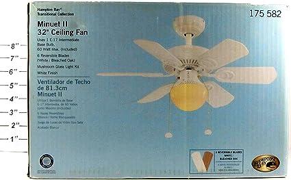Hampton Bay Minuet II 32u0026quot; Ceiling Fan, White Finish ...