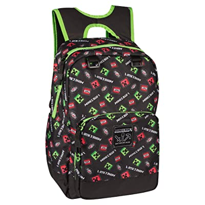 "JINX Minecraft Scatter Creeper Kids School Backpack, Black, 17"": Toys & Games"