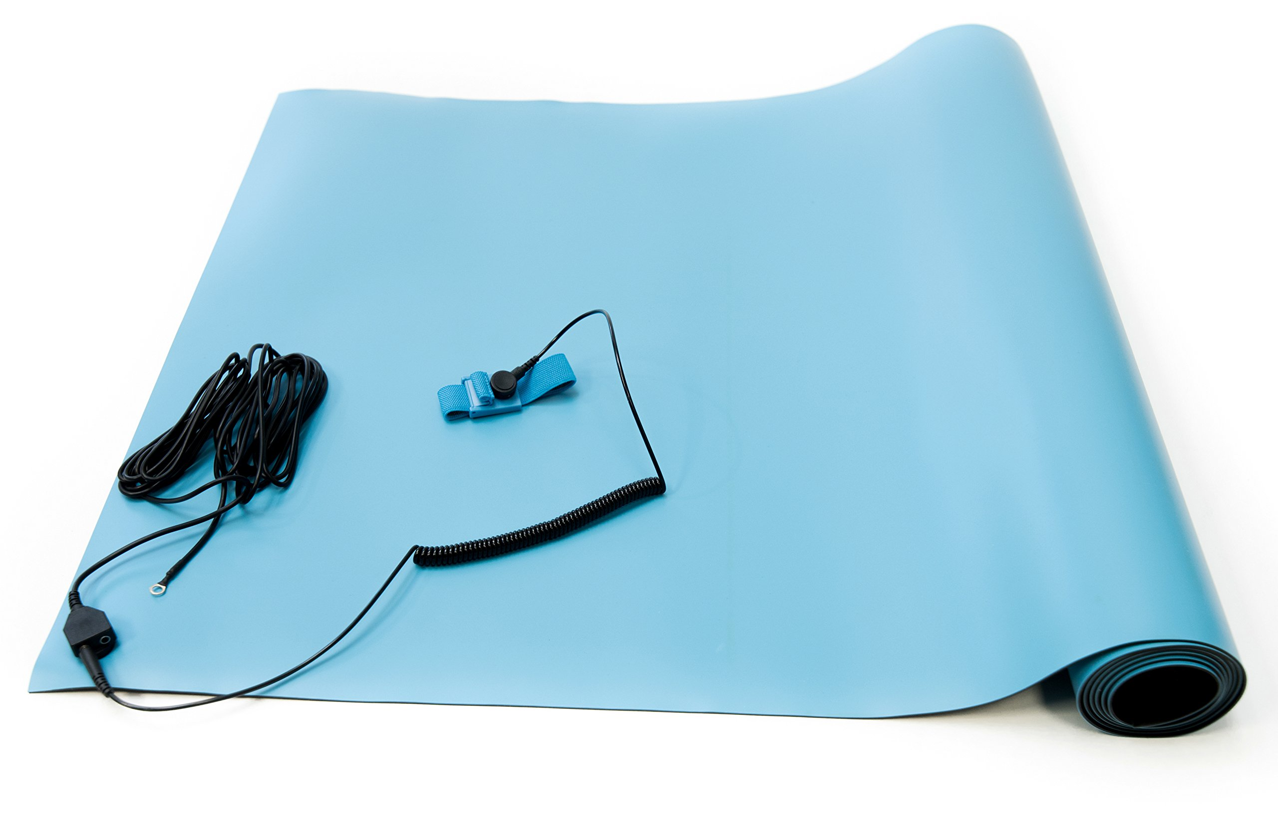 Bertech ESD High Temperature Rubber Mat Kit with a Wrist Strap and Grounding Cord, 2' Wide x 3' Long x 0.08'' Thick, Blue by Bertech (Image #3)