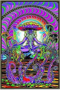 Studio B The Shroomer Flockless UV Black Light Blacklight Trippy Poster 24x36 Inches