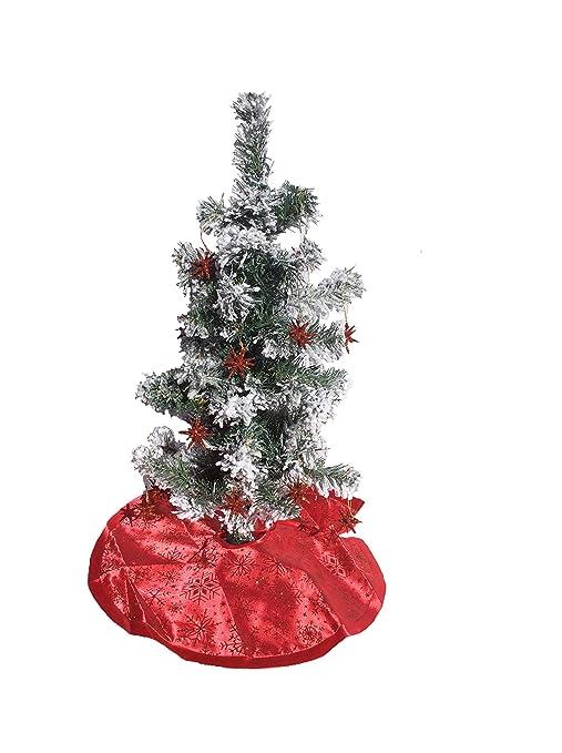 Mini Christmas Tree Skirt Pattern.Amazon Com 2 Ft Pre Lit Flocked Mini Christmas Tree Kit