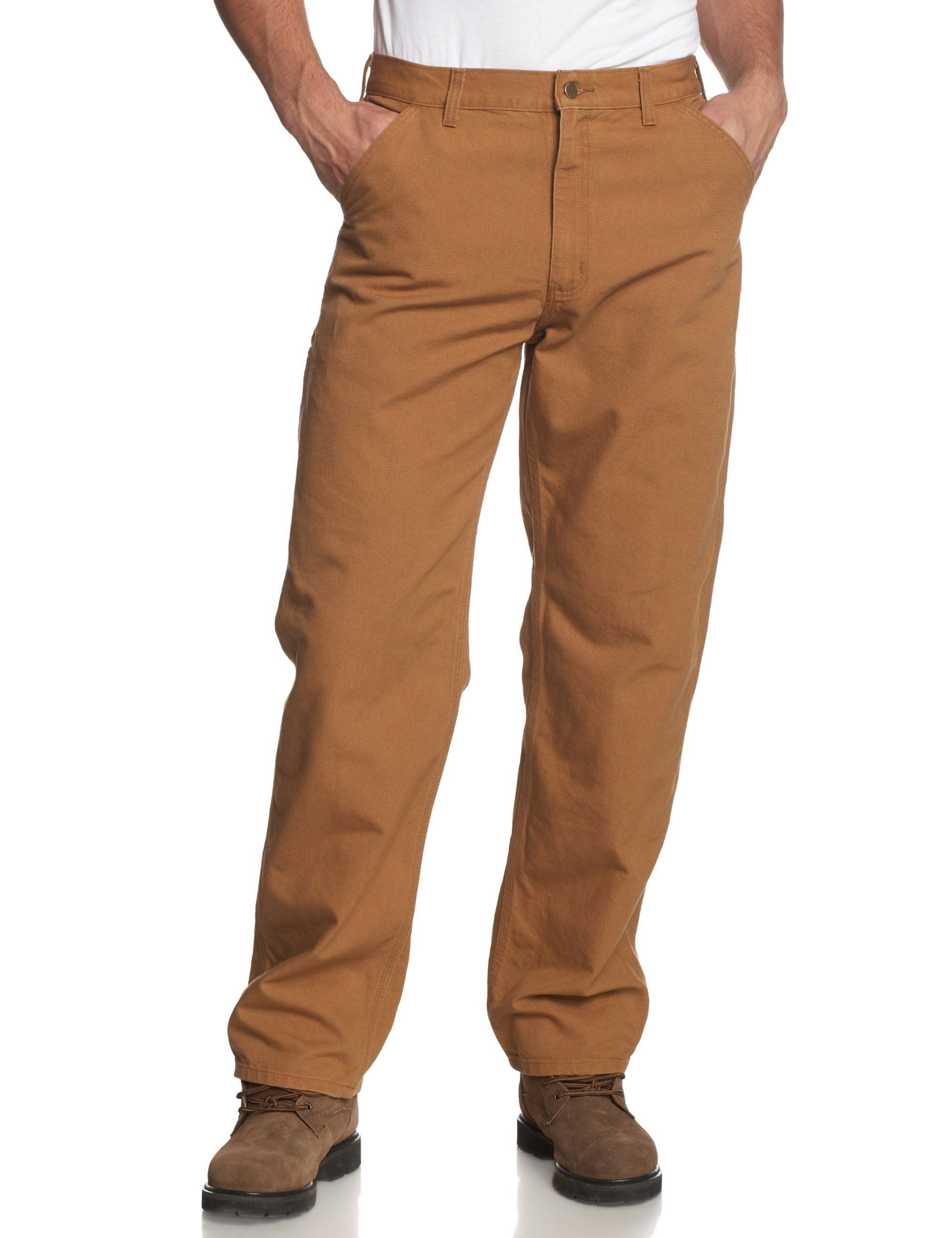 Carhartt Men's Washed Duck Work Dungaree Utility Pant B11,Carhartt Brown,34 x 32
