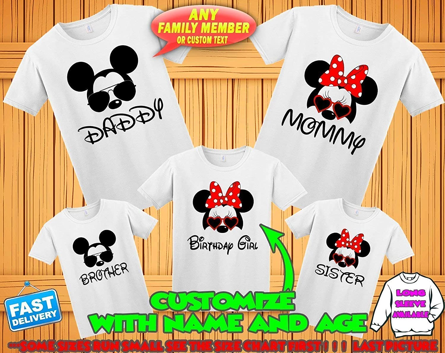 DISNEY MICKEY MINNIE MOUSE CHARACTERS PERSONALIZED T-SHIRT IRON ON TRANSFER