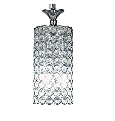 Diamond Life 1-light Chrome Finish Round Metal Shade Crystal Chandelier Hanging Pendant Ceiling Lamp Fixture