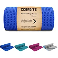 Hot Yoga Towel, Zoegate Non Slip Yoga Hand Mat with 4 Corner Pockets, Ultra Absorbent, Eco-Friendly Fitness Gym Microfiber Towel Blanket Large Pilates Fitness Sport Yoga + Travel Bag