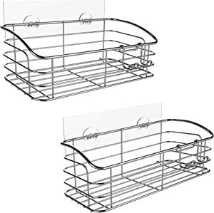 HOME SO Large Bathroom Caddy with Adhesive - Rustproof Stainless Steel Shower Kitchen Storage Organizer - Easy to Hang Shelf, No Drilling, No Sticky Residue - Wall Rack, 2 pack