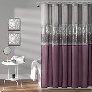 Lush Decor, Gray and Purple Night Sky Shower Curtain | Sequin Fabric Shimmery Color Block Design for Bathroom, x 72