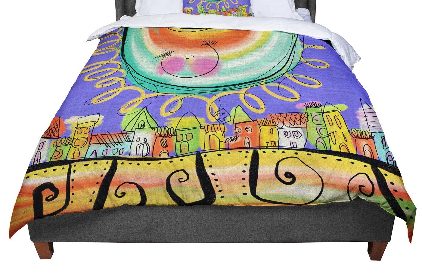 Violet Yellow Purple King Cal King Comforter KESS InHouse Carina Povarchik Sun 104 X 88
