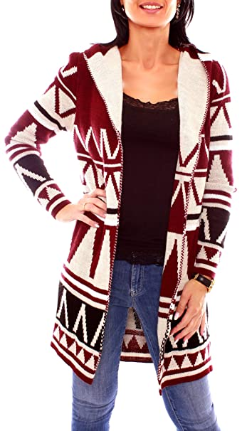 Easy Young Fashion Damen Ethno Kapuzen Strickcardigan