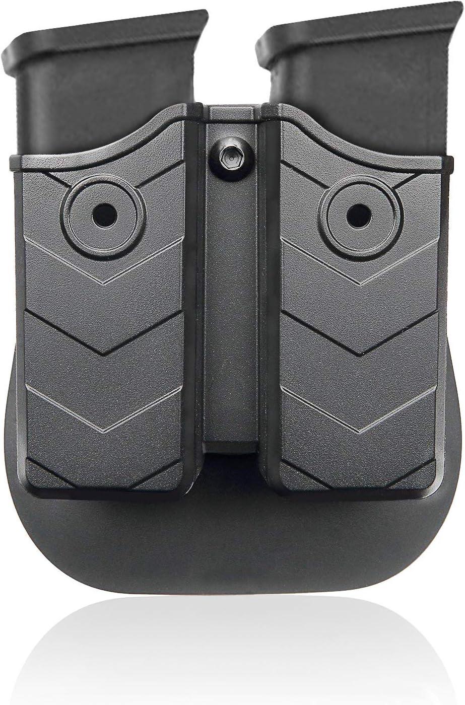 efluky Universal Portacargador Doble Portacargador Funda para Pistola Cargador Bolsa para H&K USP FS/Compact 9mm/.40/Beretta/Golck 17 19/Beretta/CZ 75/Walther P99/Sig Sauer p226, Paddle 60°Adjusta