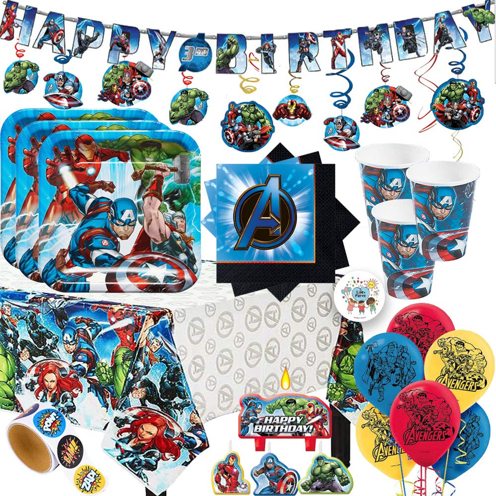 MEGA Avengers Birthday Party Supplies Pack with Decorations For 16 With Plates, Cups, Napkins, Tablecover, Candles, Banner, Swirls, Balloons, Super Hero Stickers, and Exclusive Pin
