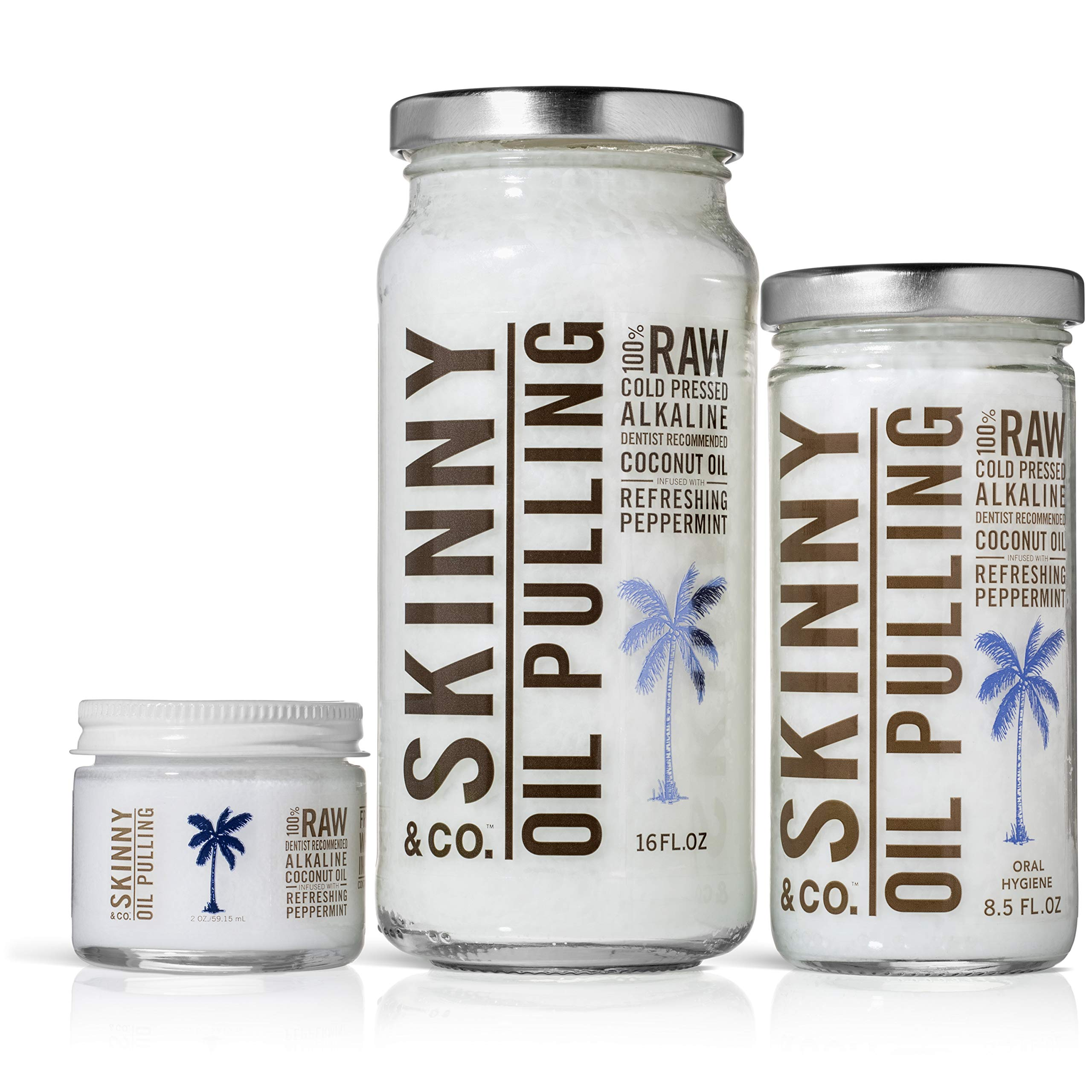 SKINNY and CO. 100% Raw Oil Pulling Peppermint Coconut Oil for Healthier Teeth and Gums (16 Oz) by SKINNY and CO. (Image #4)