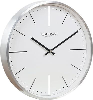 London Clock Co 30 cm Brushed Chrome Case Wall Clock