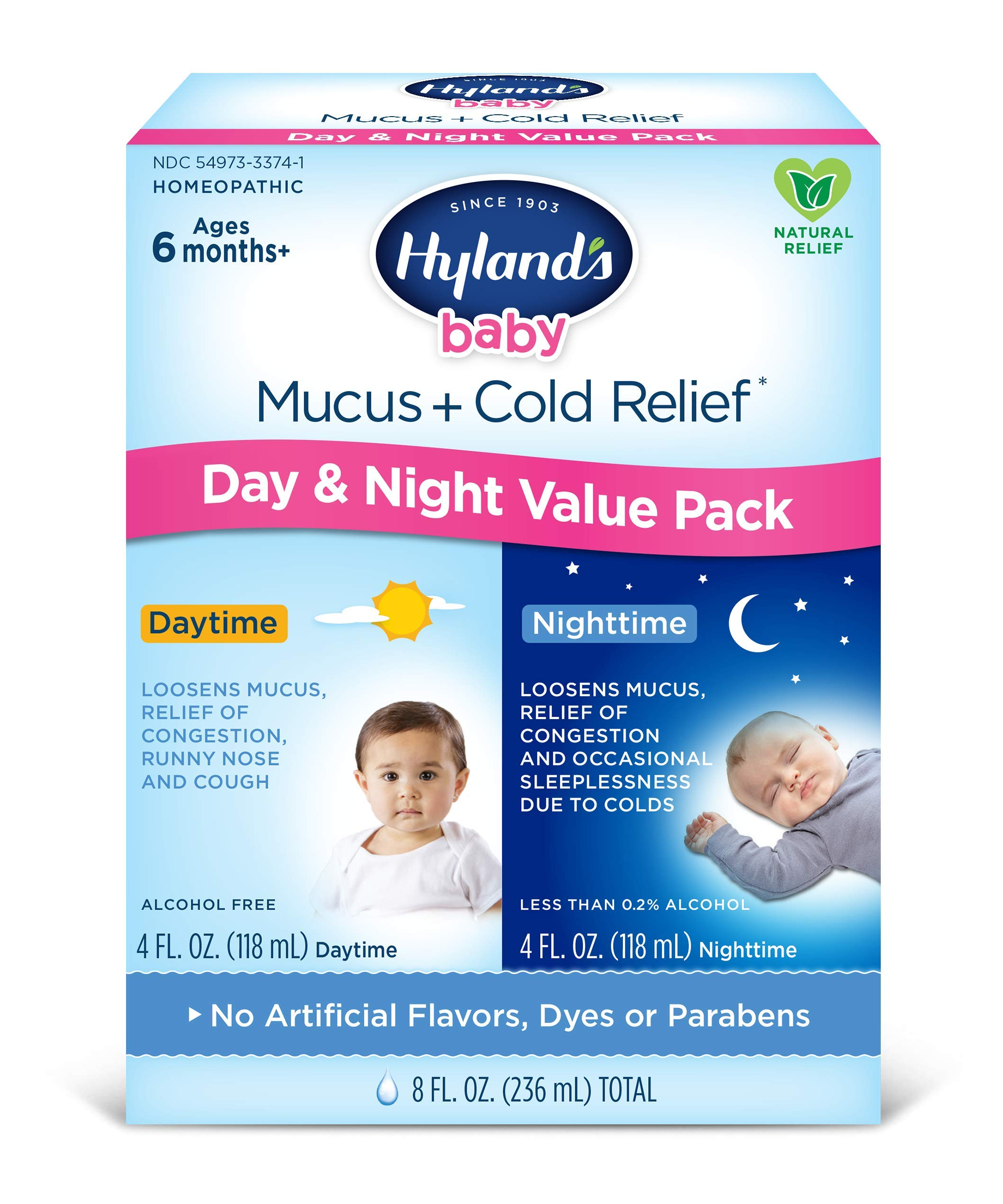 Baby Cold Medicine, Infant Cold and Cough Medicine, Decongestant, Hyland's Baby Mucus and Cold Relief, Day & Night Value Pack, 8 Fluid Ounce (Packaging May Vary) by Hyland's Homeopathic