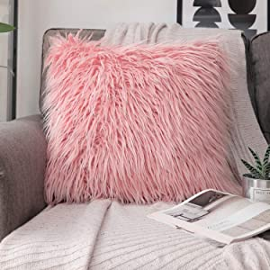 Phantoscope Luxury Series Throw Pillow Cover Faux Fur Mongolian Style Plush Cushion Case for Couch Bed and Chair, Pink, 18 x 18 inches, 45 x 45 cm
