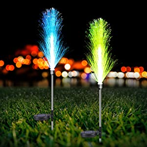 Neporal Solar Garden Lights, 7 Color Changing Solar Lights Outdoor Decorative, Dusk to Dawn Solar Garden Stake Lights Waterproof, Solar Flowers for Pathway, Patio, Yard, Festival and Party (2 Pack)