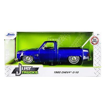 1985 Chevrolet Silverado C-10 Pickup Truck Custom Low Rider Wire Wheels Candy Blue Just Trucks 1/24 Diecast Model Car by Jada 30287 MJ: Toys & Games