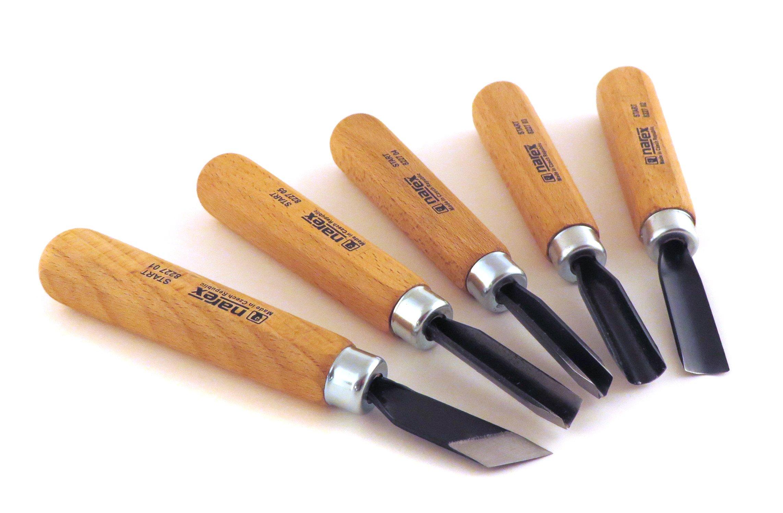 Narex 5 Piece Set Starter Carving Chisels 3 Gouges, V Tool and Double Bevel Skew Chisel 869200 by Narex