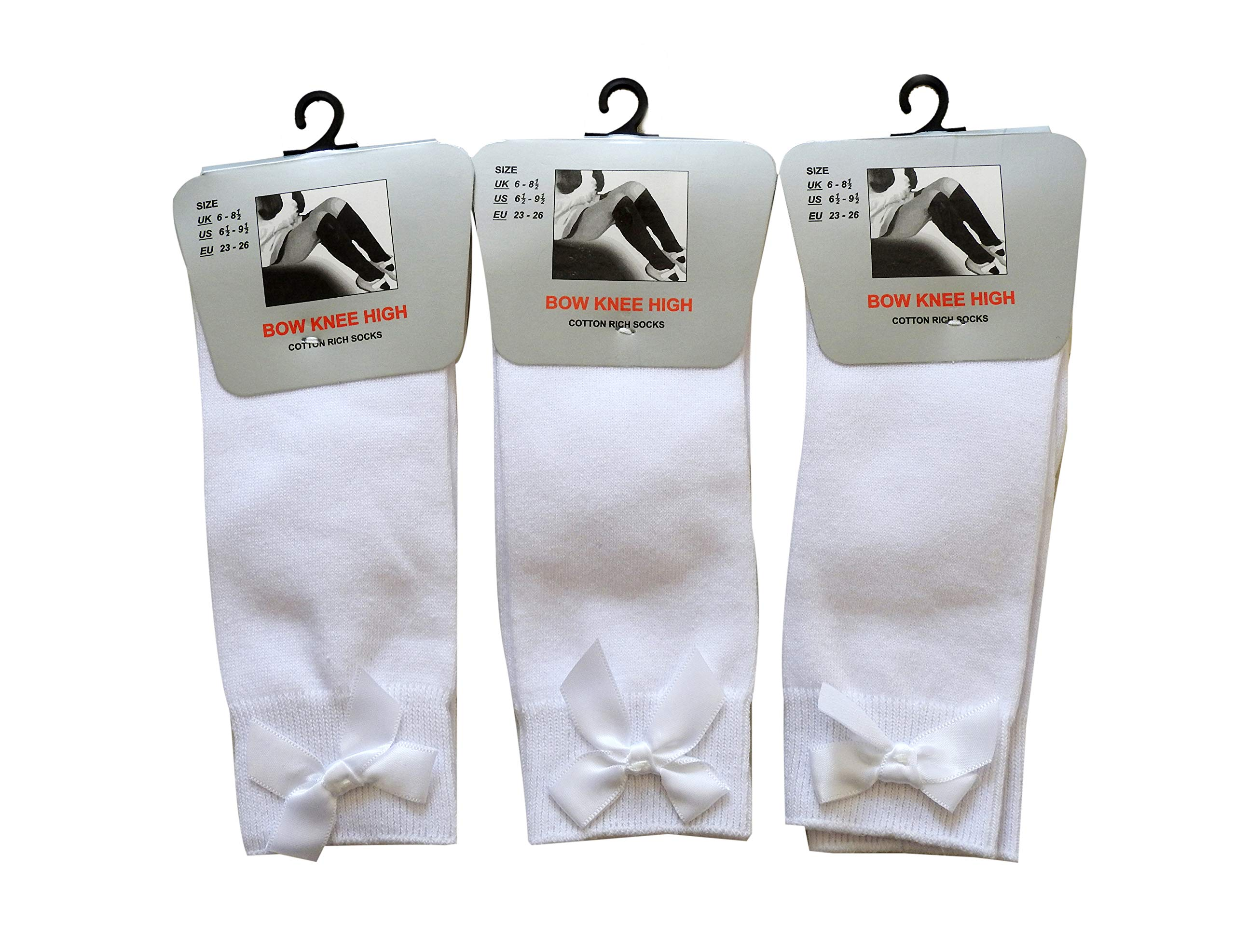 Bow Knee High 3 pairs School Socks Girls /& Kids Plain Long Length Cotton Stretch With all size /& colour Set of 3 pairs