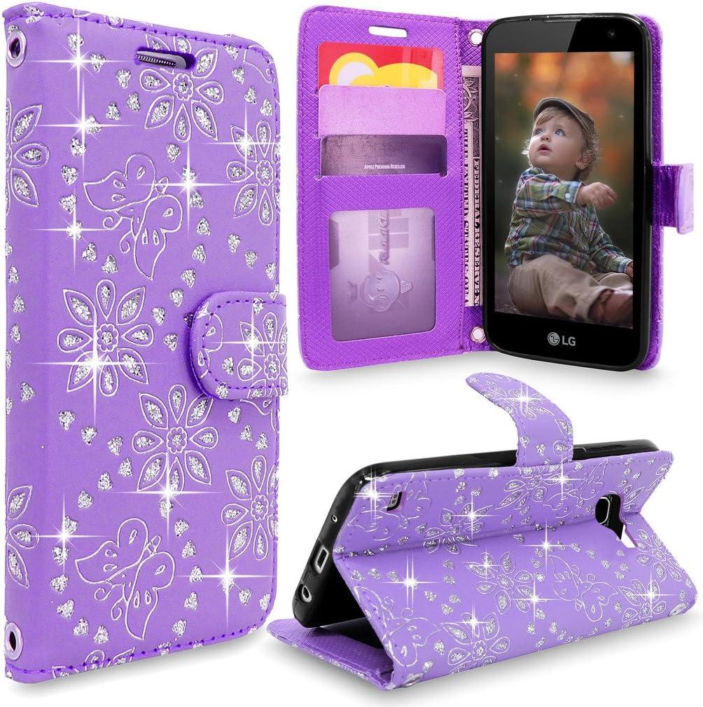 LG K4 Case, Optimus Zone 3 Case, Cellularvilla [Slim Fit] Premium Pu Leather Flip Wallet Case [Card Slot] Protective Stand Cover For LG Optimus Zone 3 (VS425) / LG K4 / LG Spree (Purple Glitter)