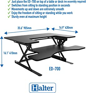 Halter ED-700 Preassembled Height Adjustable Desk Sit/Stand Elevating Tabletop Desktop - Black …
