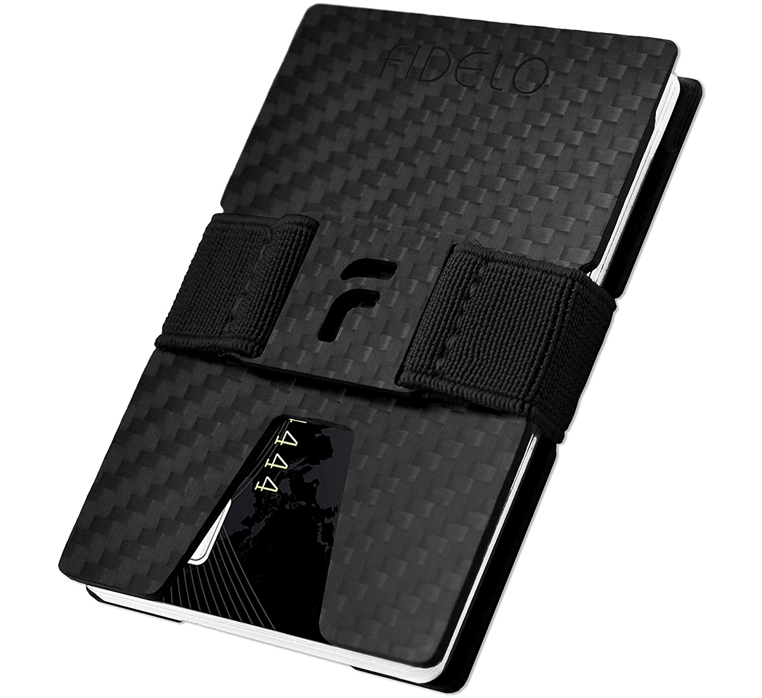 FIDELO Carbon FIber Minimalist Wallet - Mens Slim Wallet Credit Card Holder Money Clip with 4 Cash Bands - Front Pocket RFID Wallets for Men