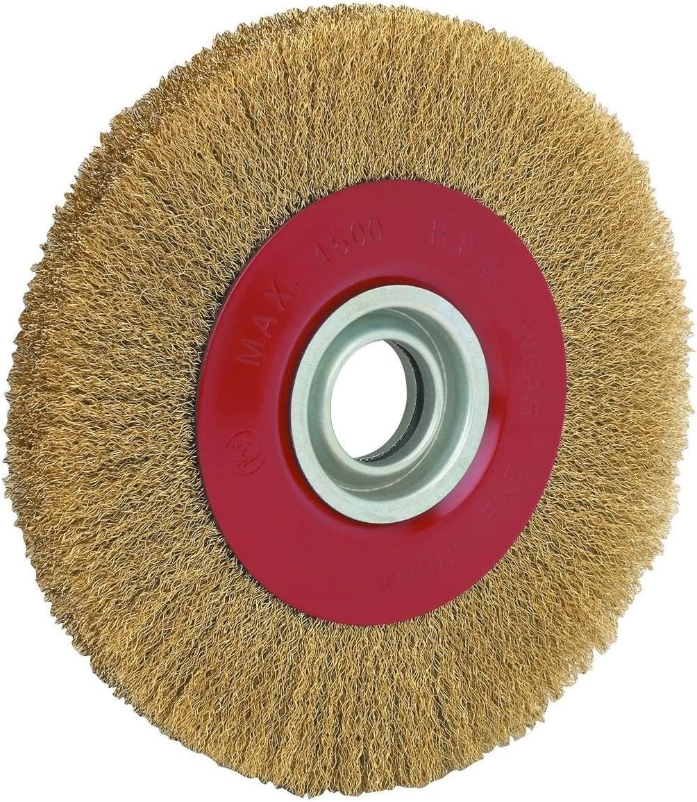 GHP 4500RPM 8 Round Brass Coated Steel Bristles Wire Brush Wheel for Bench Grinders