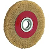 8 INCH Round Brass Plated Steel Wire Brush Wheel for Bench Grinder PAKA HAND TOOLS