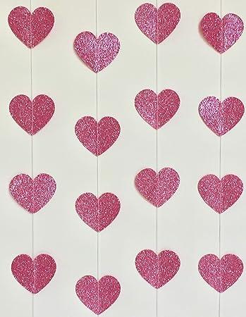 Pink Glitter Heartin Garland