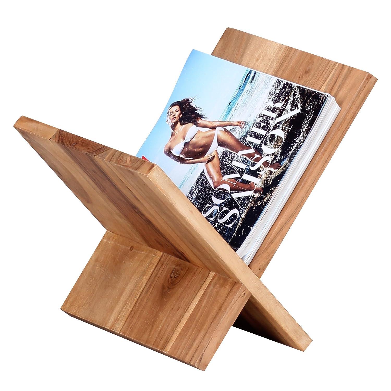 Zeitungsständer wohnling zeitungsständer massivholz akazie x form 31 cm
